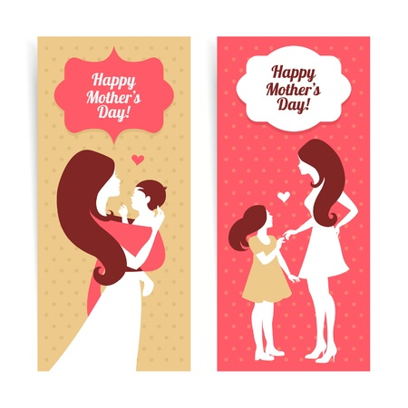 Happy Mothers Day. Banners of beautiful silhouette of mother and baby in vintage style