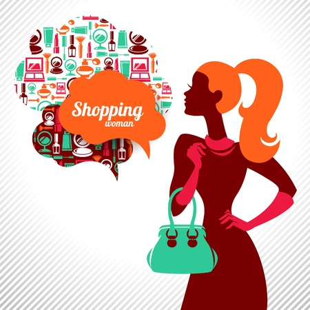 Shopping woman. Elegant stylish design Stock Vector - 18435538