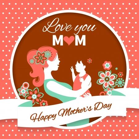 moeder met baby: Happy Mother's Day. Kaart met prachtige silhouet van moeder en baby in vintage stijl Stock Illustratie