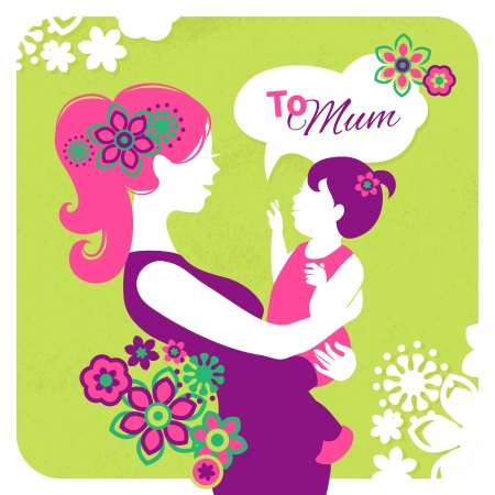 mama: Happy Mothers Day. Card with beautiful silhouette of mother and baby