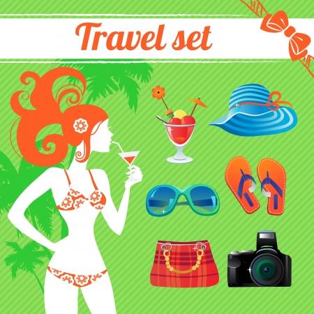 infogaphics: Travel and summer icon set, infographics for modern women