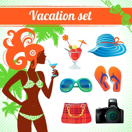 Vacation and travel icon set, infographics for modern women Stock Vector - 18813691
