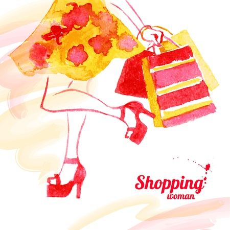woman shopping bags: Watercolor shopping women design. Vintage background with beautiful girl. Spring theme background.
