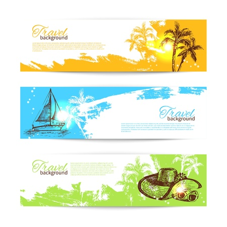 vacation summer: Banner set of travel colorful tropical splash backgrounds