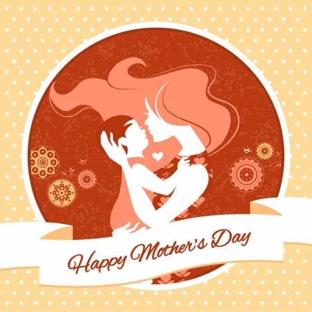 Happy Mothers Day. Card with beautiful silhouette of mother and baby in vintage style Vector