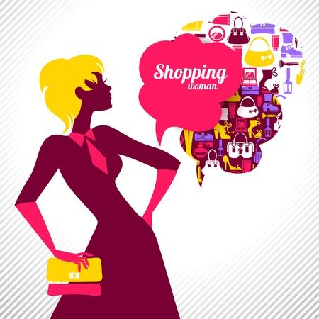 infogaphics: Shopping woman. Elegant stylish design