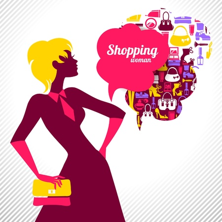 shopping bag icon: Shopping woman. Elegantes stilvolles Design