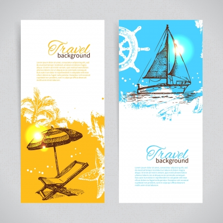 Banners of travel colorful tropical design. Splash blob backgrounds Vector