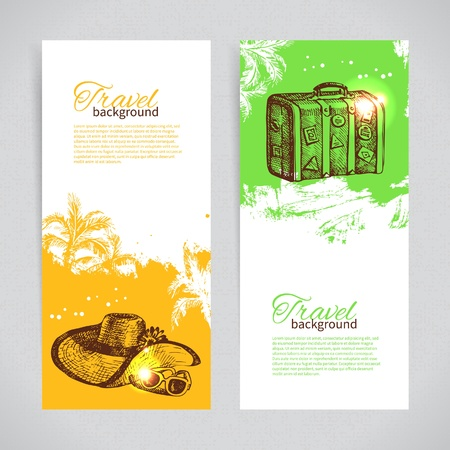 Banner set of travel colorful tropical splash backgrounds Vector