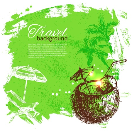 palm of hand: Travel colorful tropical design. Splash blob background