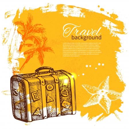 suitcase: Travel colorful tropical design. Splash blob background