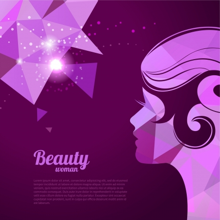 Banners with stylish beautiful woman silhouette in pastel colors Vector