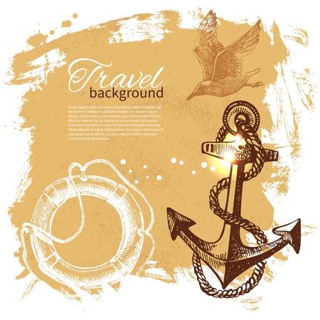 Voyage fond vintage. Sea conception nautique. Illustration tirée de main