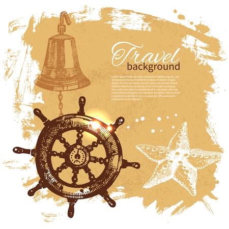 navigating: Travel vintage background. Sea nautical design. Hand drawn illustration