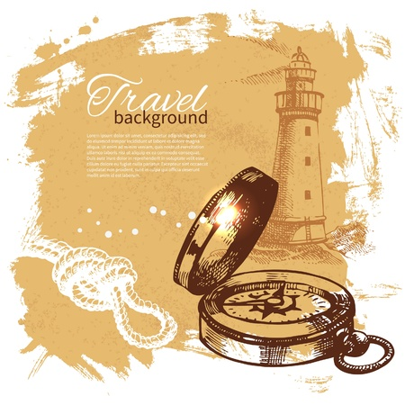 drawing compass: Travel vintage background. Sea nautical design. Hand drawn illustration
