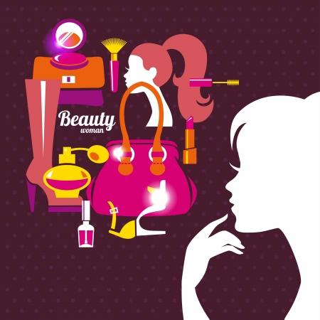 Silueta de la mujer hermosa con iconos de la moda. Compras chica. Elegante diseño con estilo
