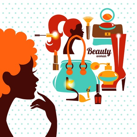 Beautiful woman silhouette with fashion icons. Shopping girl. Elegant stylish design Vector