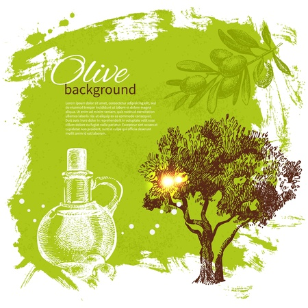 grunge bottle: Vintage olive background. Hand drawn illustration