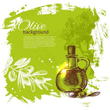 sauces: Vintage olive background  Hand drawn illustration