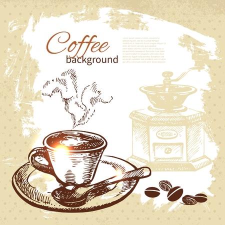 afternoon tea: Hand drawn vintage coffee background