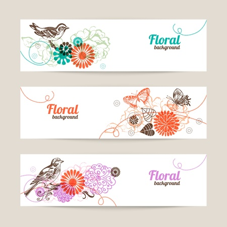 Banners with hand drawn floral background  Vector
