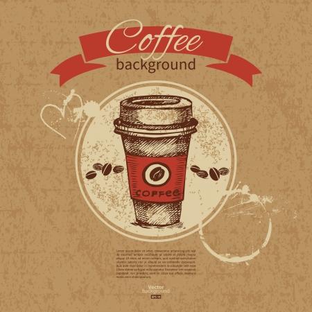 carta de postres: Dibujado a mano vintage background caf� Men� para restaurante, cafeter�a, bar, cafeter�a