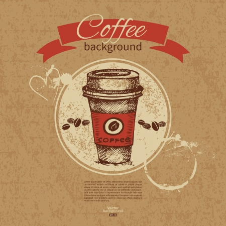 cafeteria: Hand drawn vintage coffee background  Menu for restaurant, cafe, bar, coffeehouse