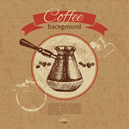 Hand drawn vintage coffee background  Menu for restaurant, cafe, bar, coffeehouse Vector