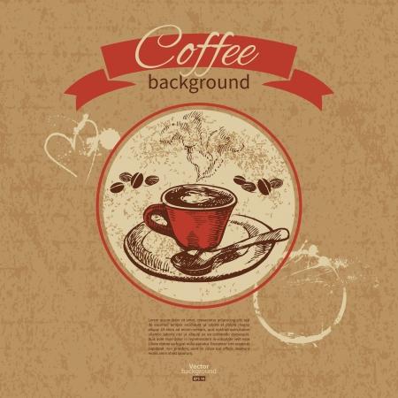 cafe bar: De hand getekend vintage koffie achtergrond Menu voor het restaurant, cafe, bar, koffiehuis