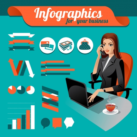 data collection: Business nfographics  Set of infographics elements and beauty business woman