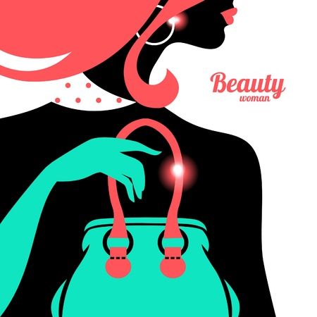 jewelry design: Fashion woman silhouette Illustration