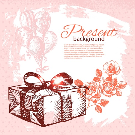 Hand drawn vintage present background with gift box. Vector illustration with splash design  Stock Vector - 18815430