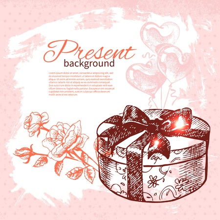 Hand drawn vintage present background with gift box. Vector illustration with splash design  Stock Vector - 18815525