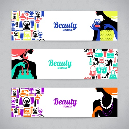 Banners with stylish beautiful shopping woman silhouette and fashion icons. Template design cards Stock Vector - 18816096