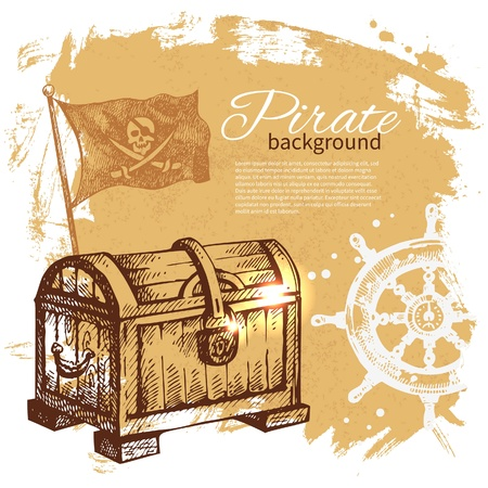 Pirate vintage background. Sea nautical design. Hand drawn illustration Vector
