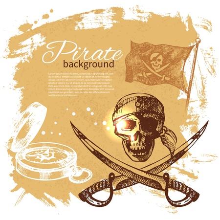 barco pirata: Pirate vendimia fondo. Sea n�utico dise�o. Dibujado a mano ilustraci�n
