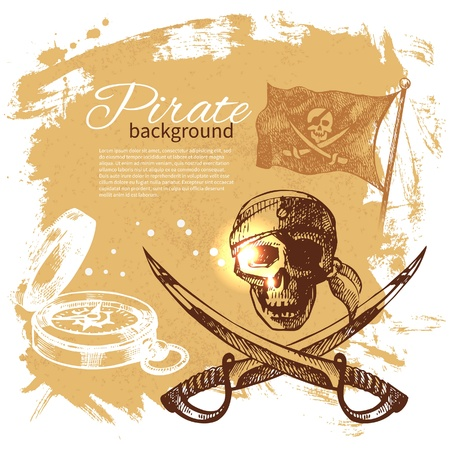 pirate banner: Pirate vintage background. Sea nautical design. Hand drawn illustration Illustration