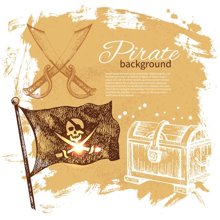 pirate skull: Pirate vintage background. Sea nautical design. Hand drawn illustration Illustration