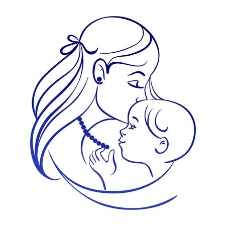 dessin au trait: M�re et le b�b�. Silhouette lin�aire de la m�re et de l'enfant
