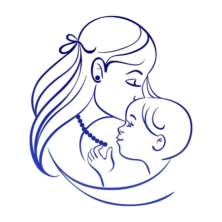 outline drawing: Mother and baby. Linear silhouette of mother and her child