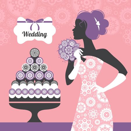 wedding cake: Wedding invitation. Beautiful bride silhouette  Illustration