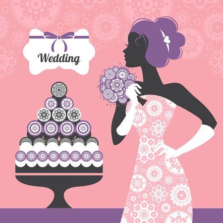 Wedding invitation. Beautiful bride silhouette Stock Vector - 18815587