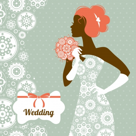 Wedding invitation. Beautiful bride silhouette  Vector