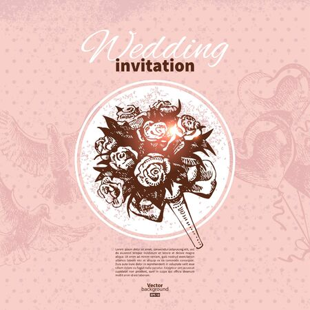 bride bouquet: Wedding invitation. Hand drawn illustration Illustration