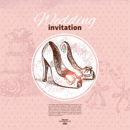vintage clothing: Wedding invitation. Hand drawn illustration  Illustration