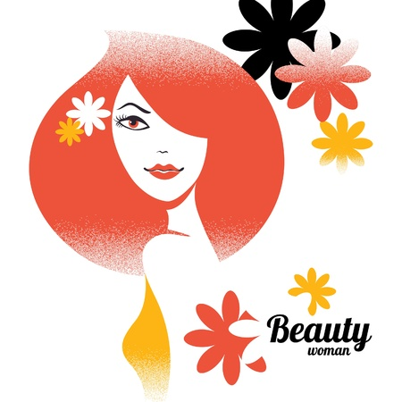 Beautiful girl silhouette in retro style with flowers Stock Vector - 18815568