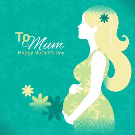 Background with silhouette of pregnant woman  Vector