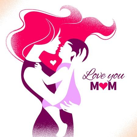 moeder met baby: Happy Mother's Day. Kaart met mooie silhouet van moeder en baby