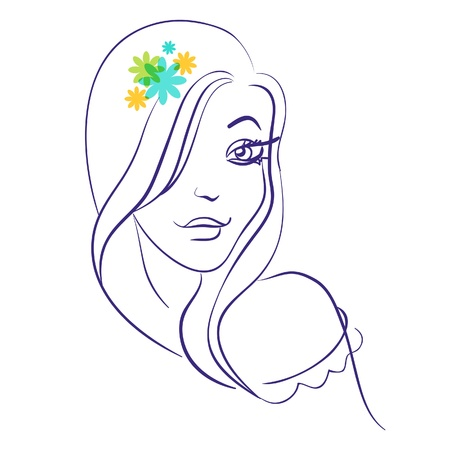 Linear silhouette of beautiful girl silhouette in with flowers Vector