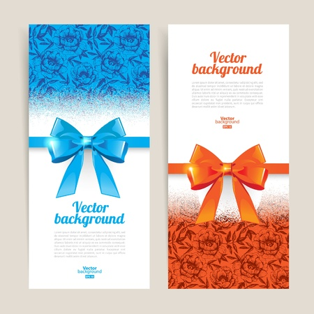 gift shop: Greeting cards with gift bows and copy space. Vector illustration